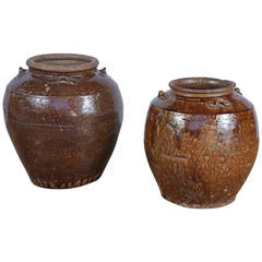 19th Century Brown Glazed Ginger Jars