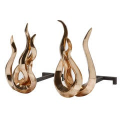 Pair of Polished Bronze Andirons or Firedogs, 'Flames Japan' by Mattia Bonetti