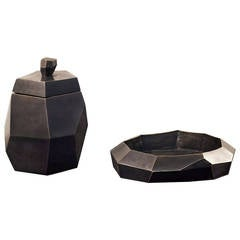 Bronze Dish and Box 'Petra' by Elizabeth Garouste & Mattia Bonetti