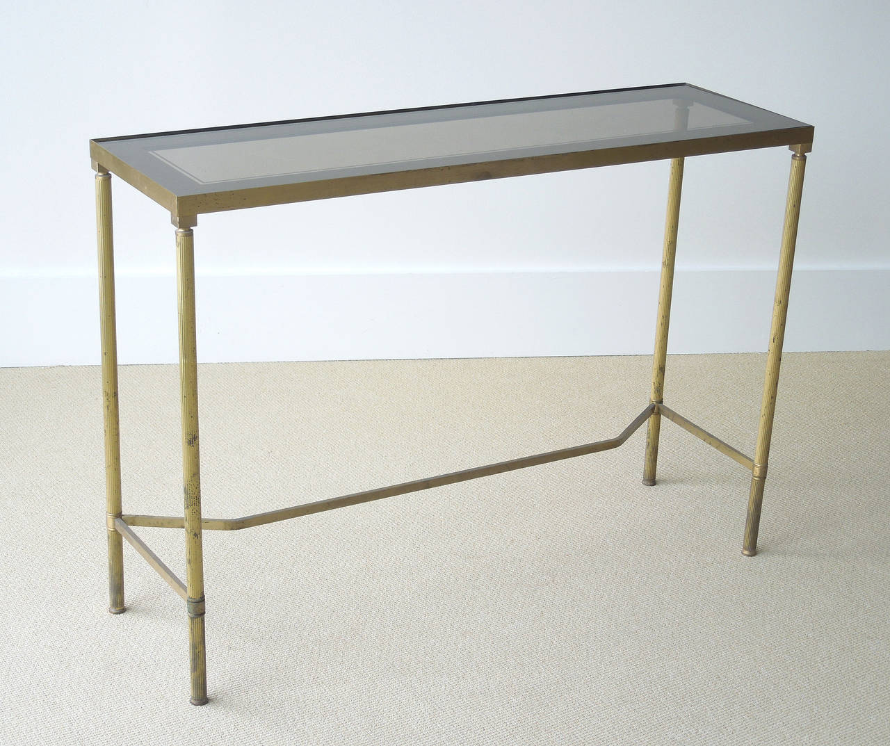 Very narrow french brass console table at 1stdibs for Sofa table thin