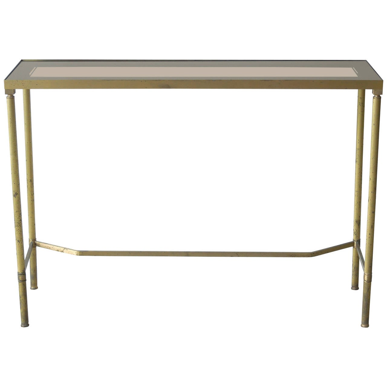 1stdibs Brass Smoked Glass French Console Table: Very Narrow French Brass Console Table At 1stdibs