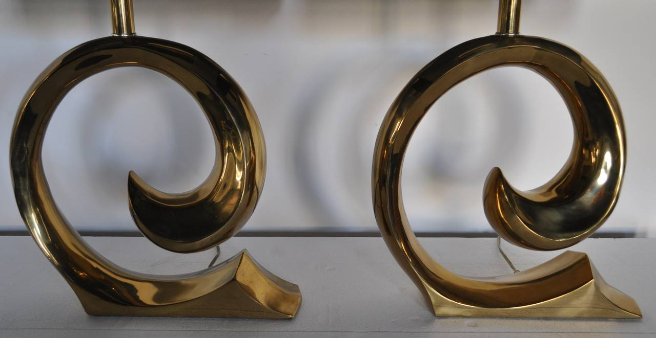 Late 20th Century Mid-Century Modern Sculptural Brass Table Lamps, Pair