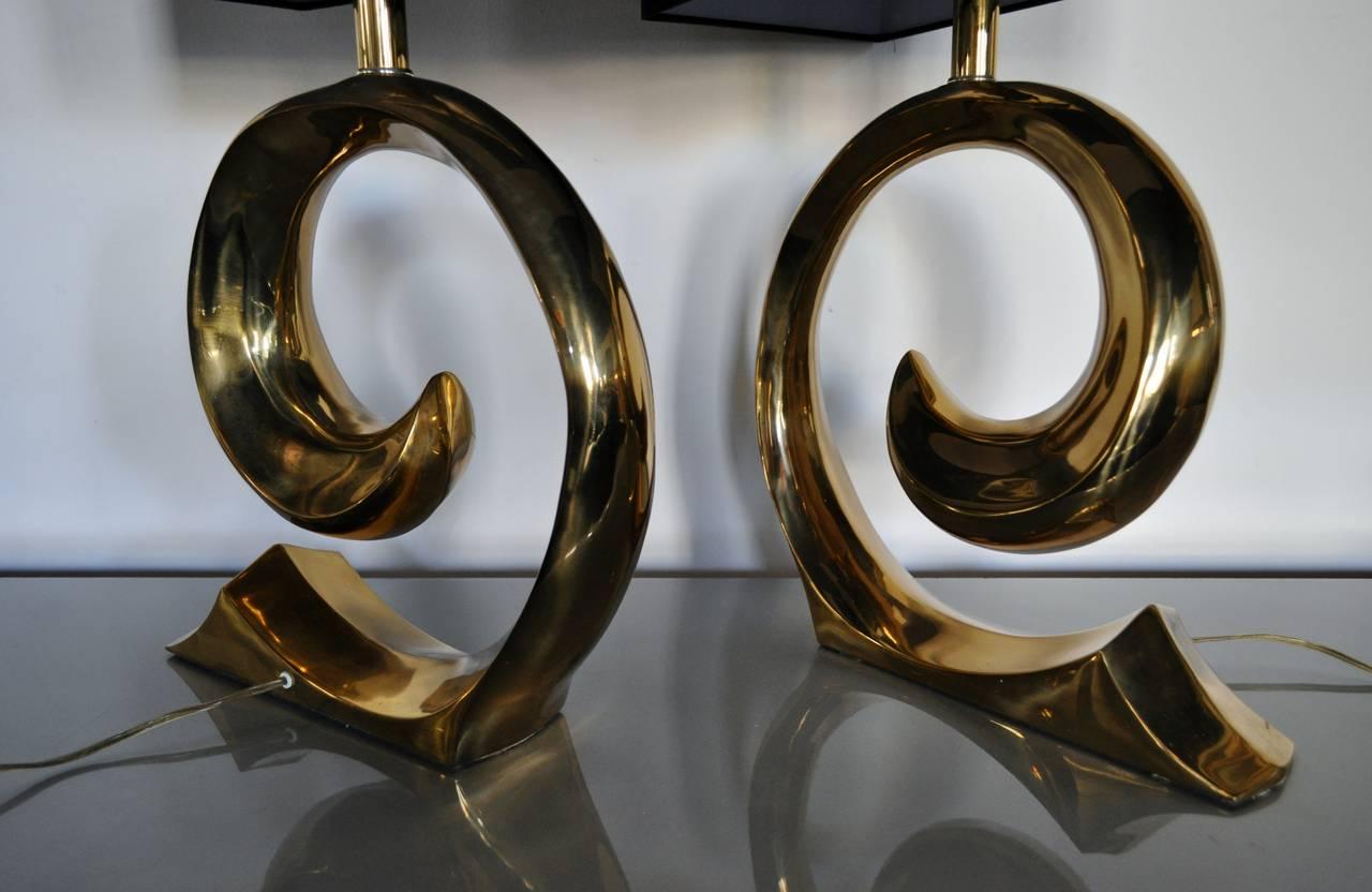 Mid-Century Modern Sculptural Brass Table Lamps, Pair 1