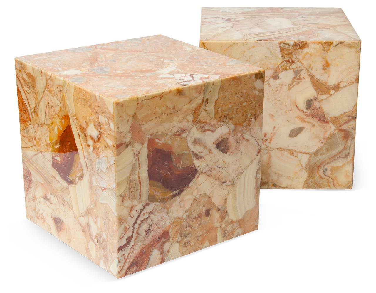 Pair Of Large Onyx Cube Side Tables At 1stdibs