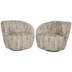 Vladimir Kagan Nautilus Swivel Lounge Chairs for Directional