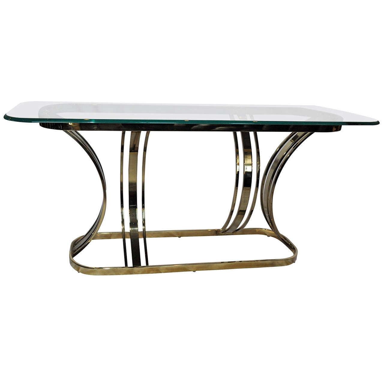 Sculptural Brass and Glass Console Table in Style of Milo Baughman