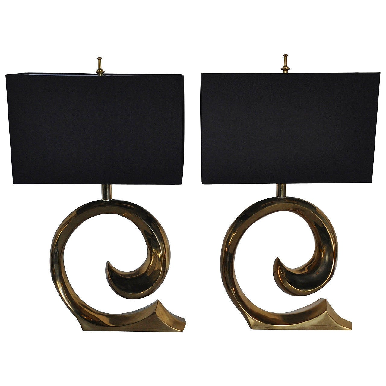 Pair of brass lamps by pierre cardin for sale at 1stdibs pair of brass lamps by pierre cardin for sale biocorpaavc Choice Image