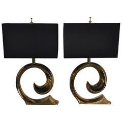 Mid-Century Modern Sculptural Brass Table Lamps, Pair