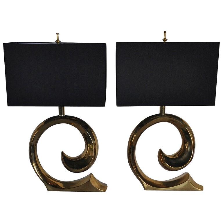 Mid-Century Modern Sculptural Brass Table Lamps, Pair