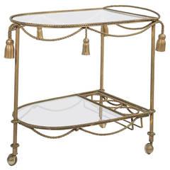Mid Century Gilt Draped Tassel Bar Tea Cart, Italy