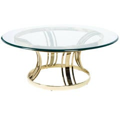 Sculptural Brass and Glass Cocktail Table in Style of Milo Baughman