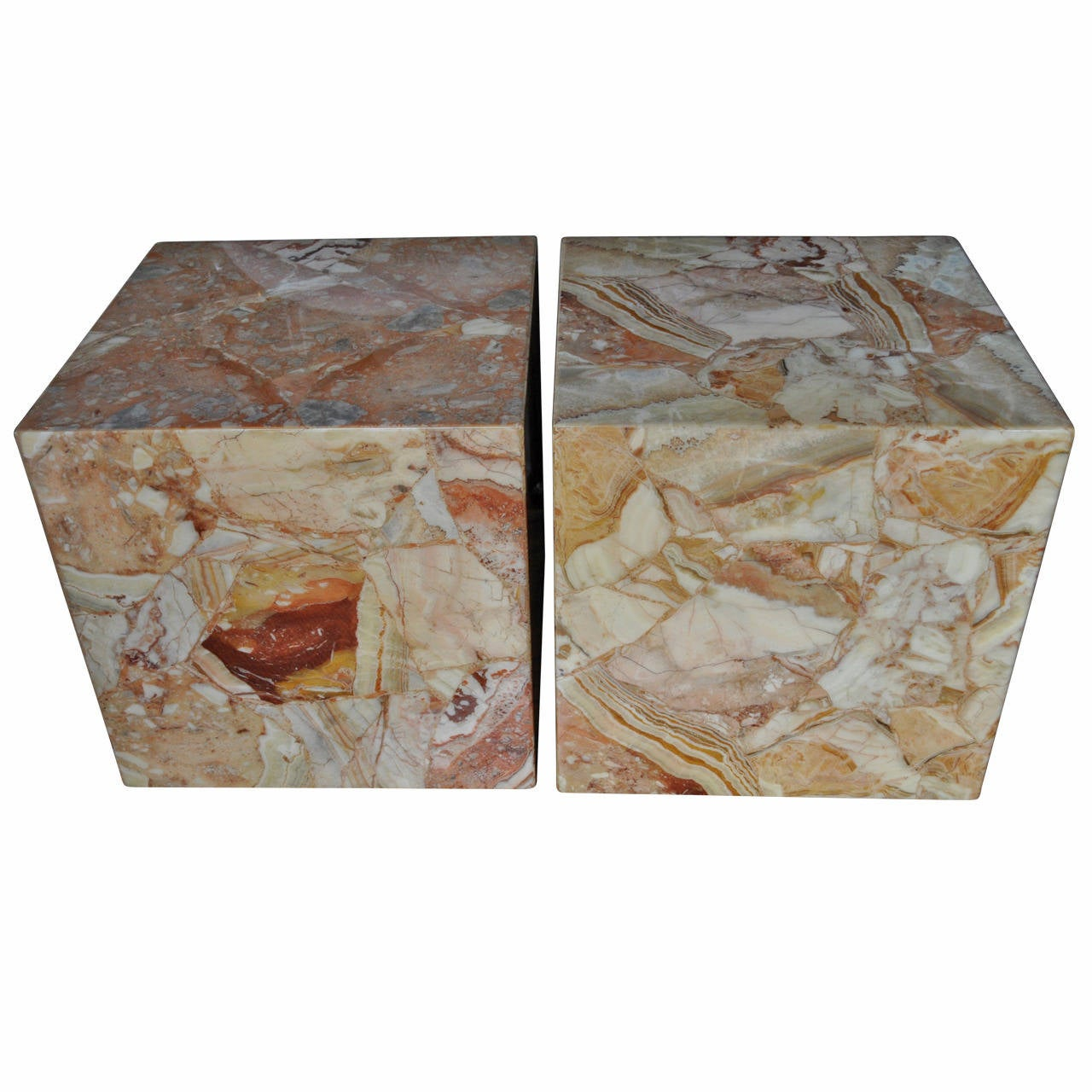 Pair Of Large Onyx Cube Side Tables For Sale