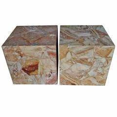 Pair of Large Onyx Cube Side Tables