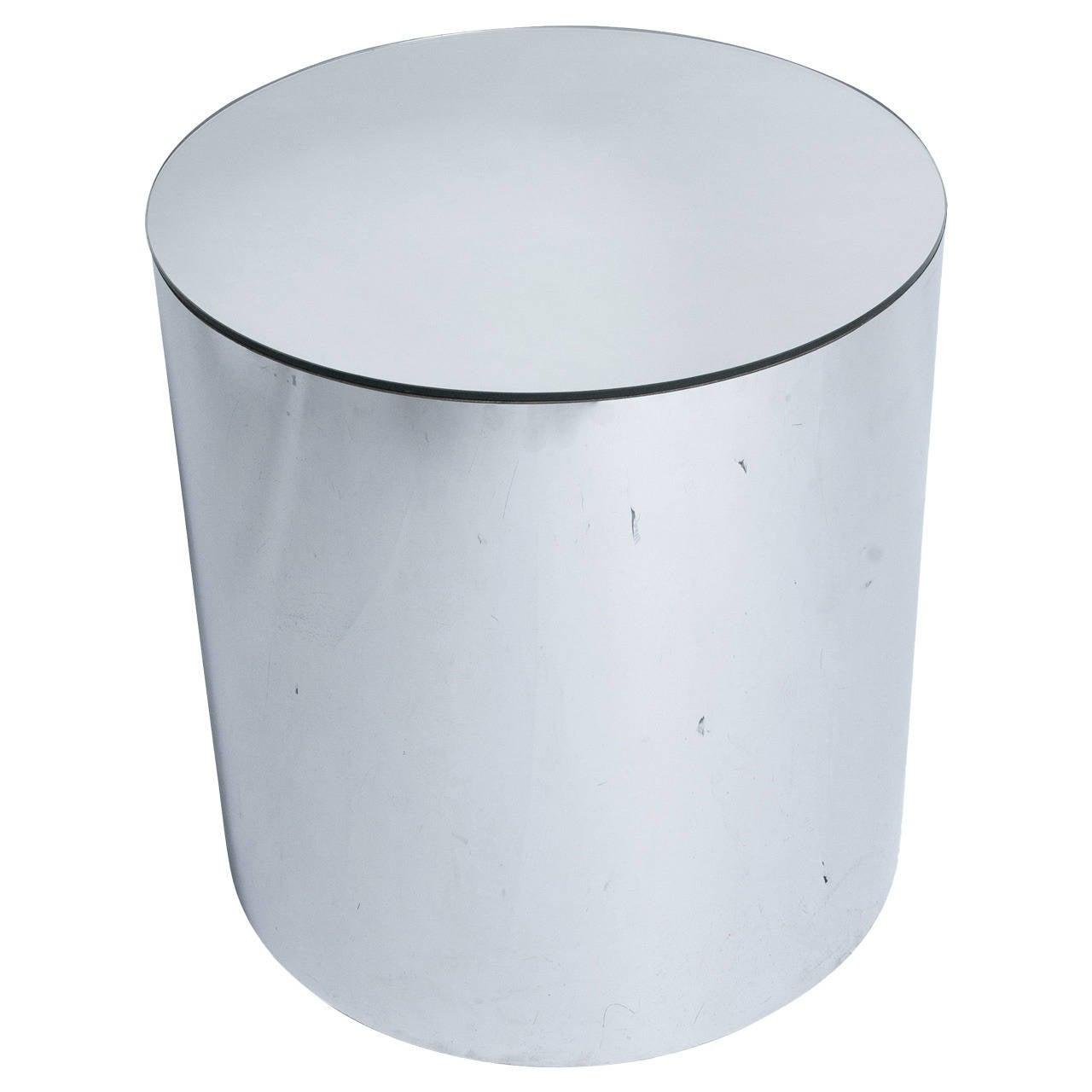 Mirror Drum Pedestal Table