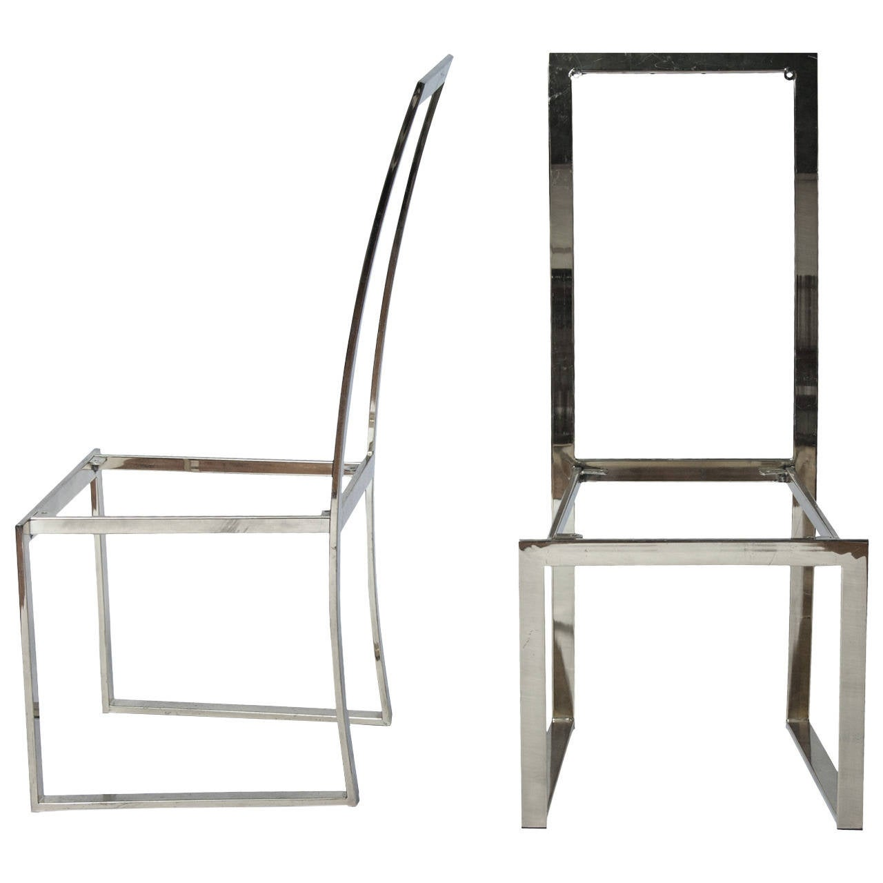 milo baughman style dining chair frames pair for sale at 1stdibs