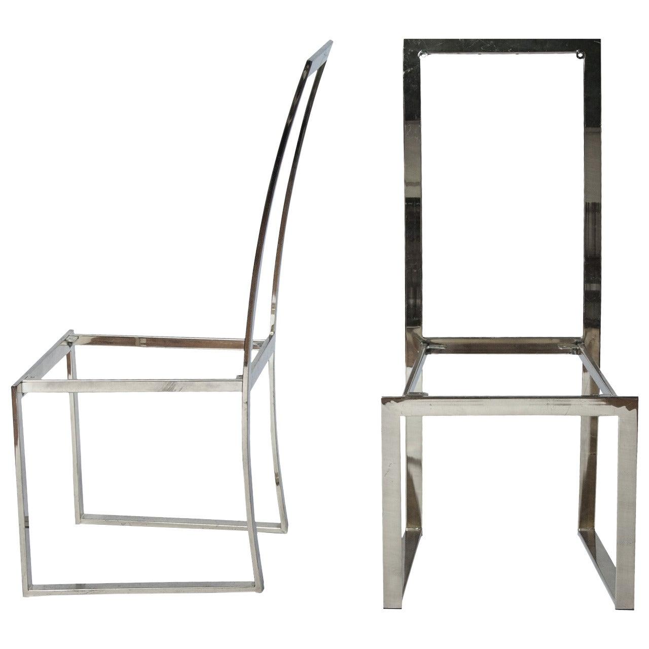 Milo Baughman Style Dining Chair Frames, Pair