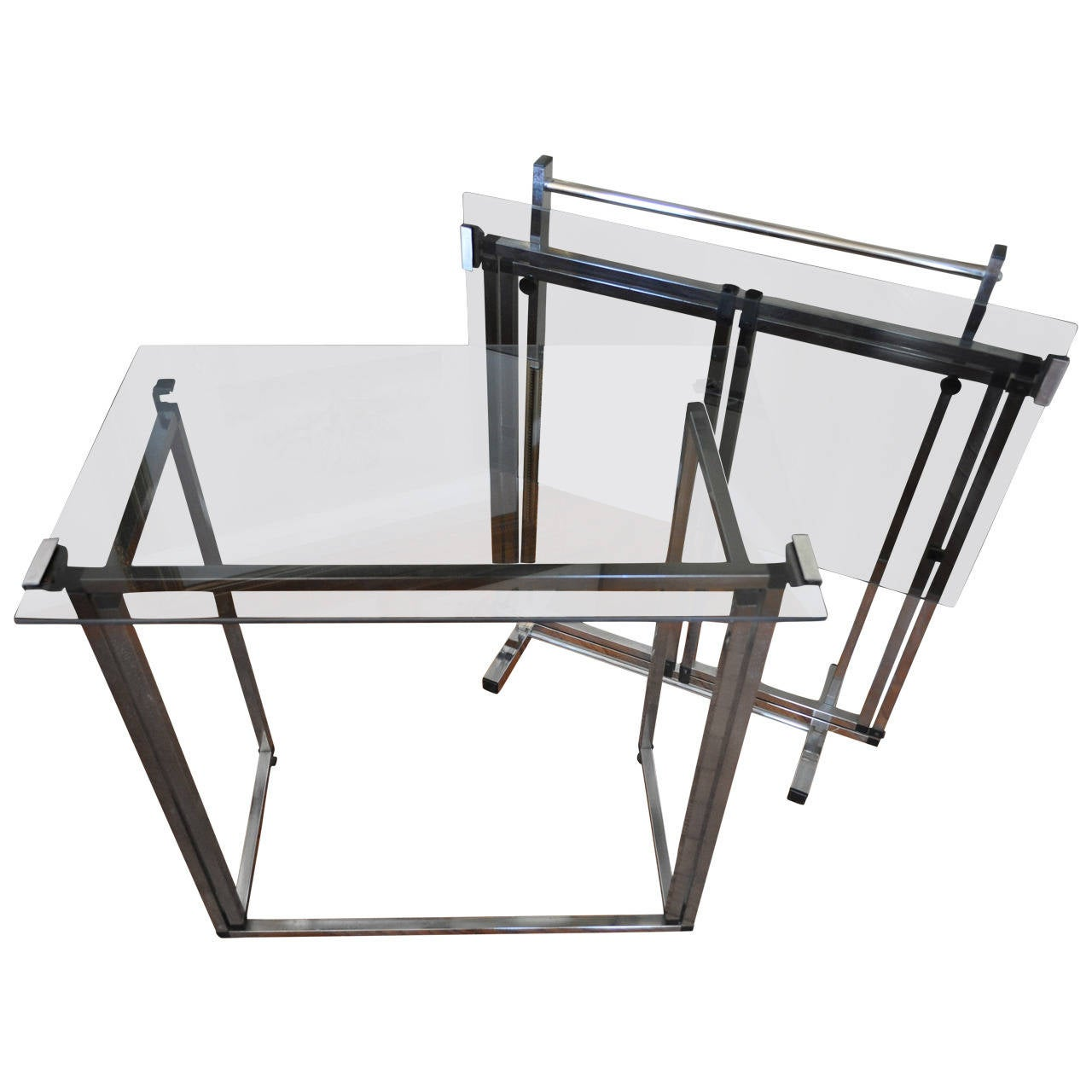 Mid century modern chrome and smoked glass folding table - Folding glass coffee table ...