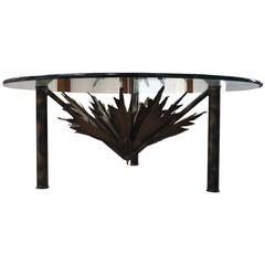 Brutalist Sculptural Sunburst Torch Cut Cocktail Table