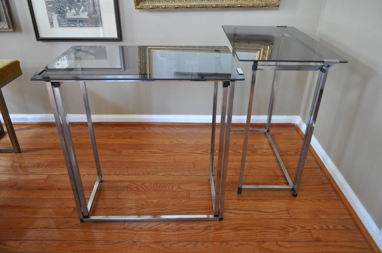 Mid Century Modern Chrome And Smoked Glass Folding Table