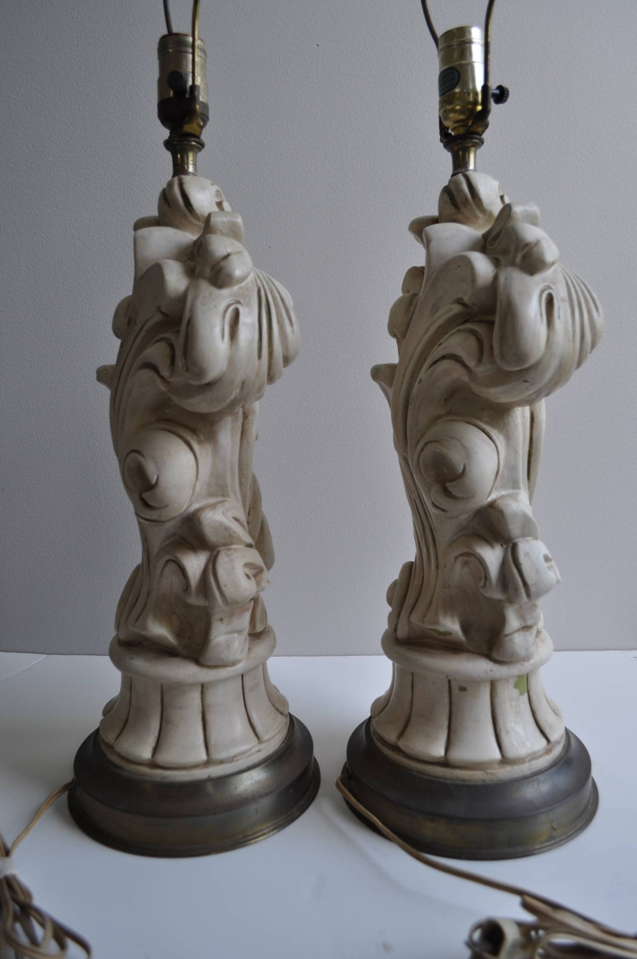 Mid-20th Century Serge Roche Style Hollywood Regency Chapman Plaster Sculptural Lamps, 1950s For Sale