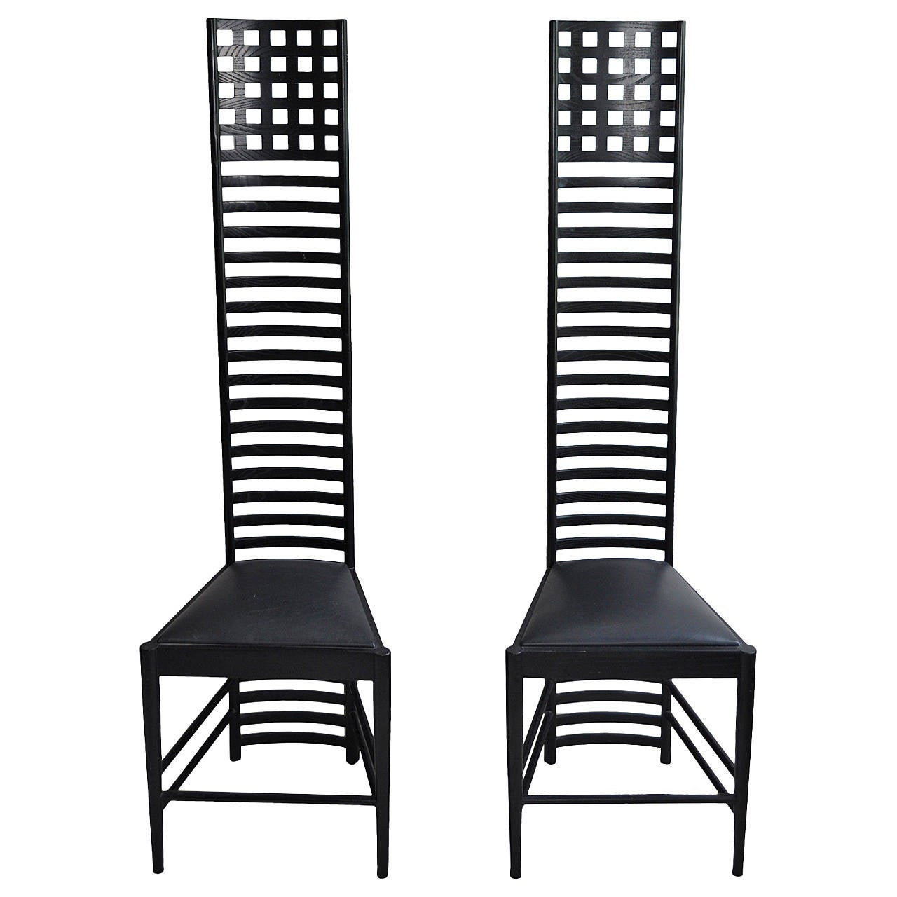 Art Nouveau Style High Back Wood Chairs Pair At 1stdibs