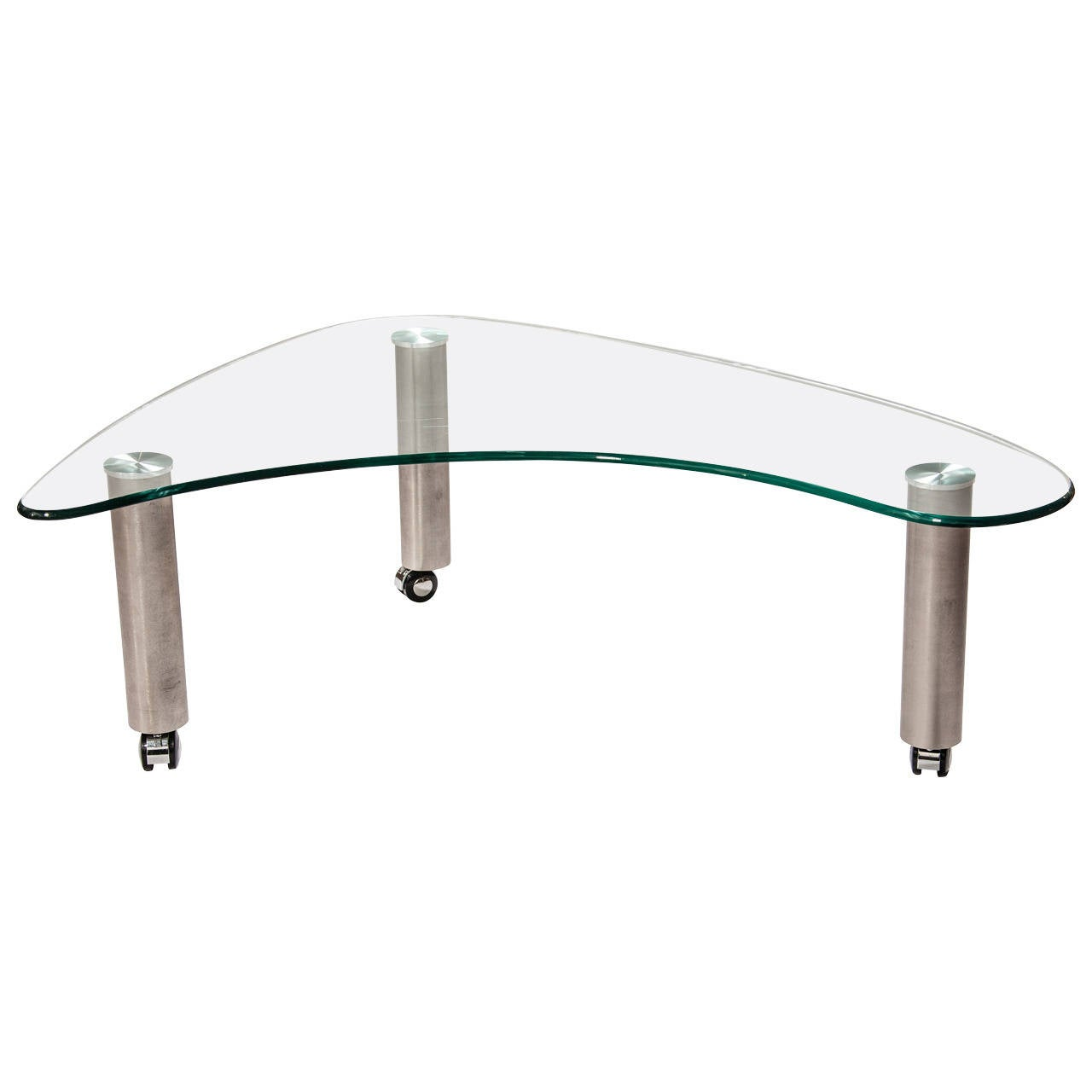 Glass and steel boomerang cocktail table at 1stdibs Steel and glass coffee table
