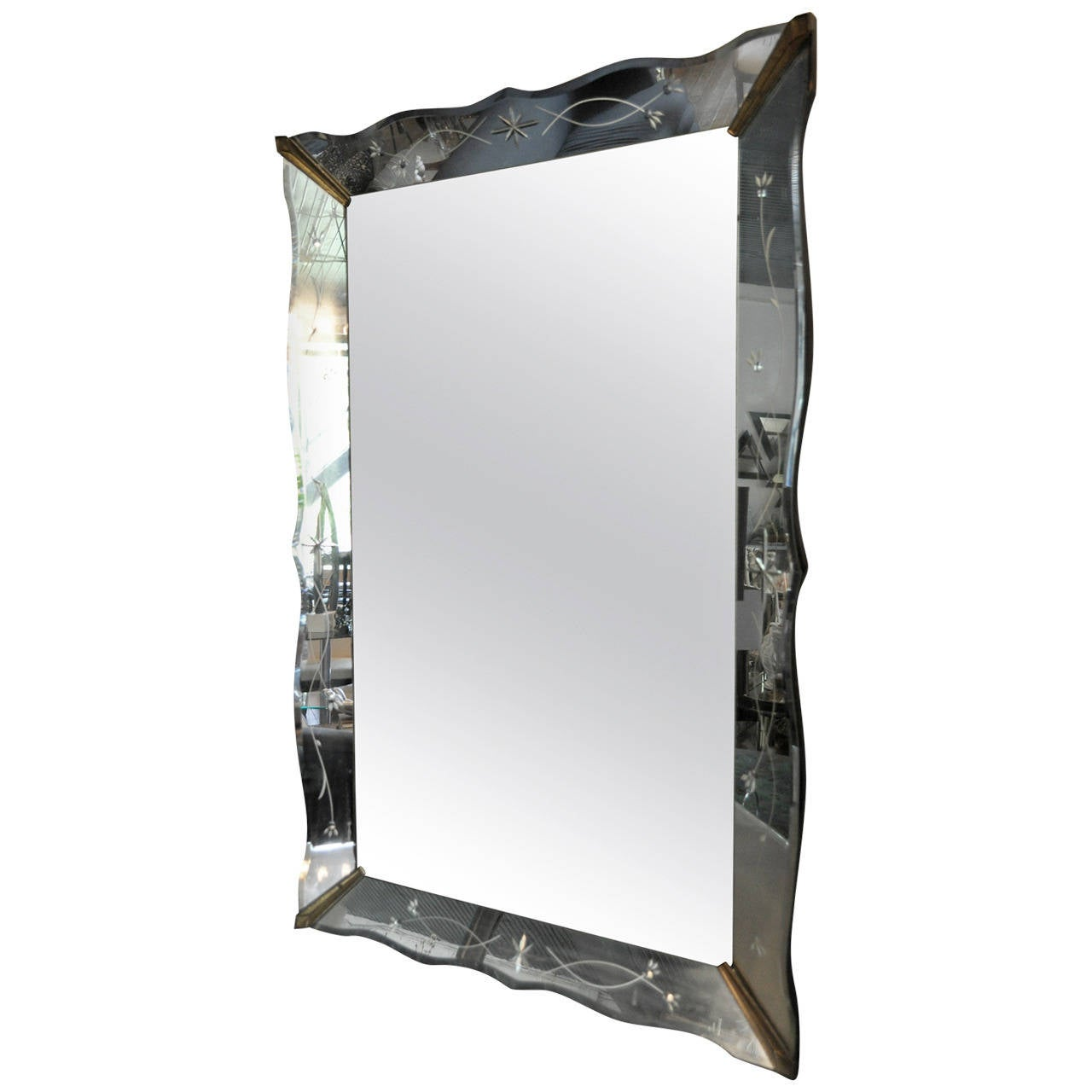 Large hollywood regency venetian glass etched mirror for Tall glass mirror
