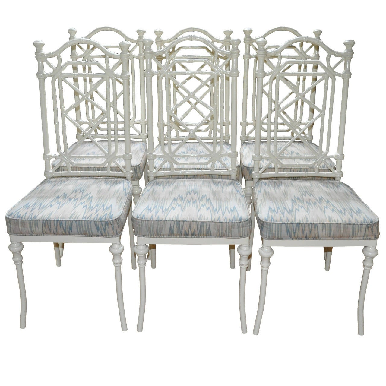 hollywood regency faux bamboo dining chairs set of six at