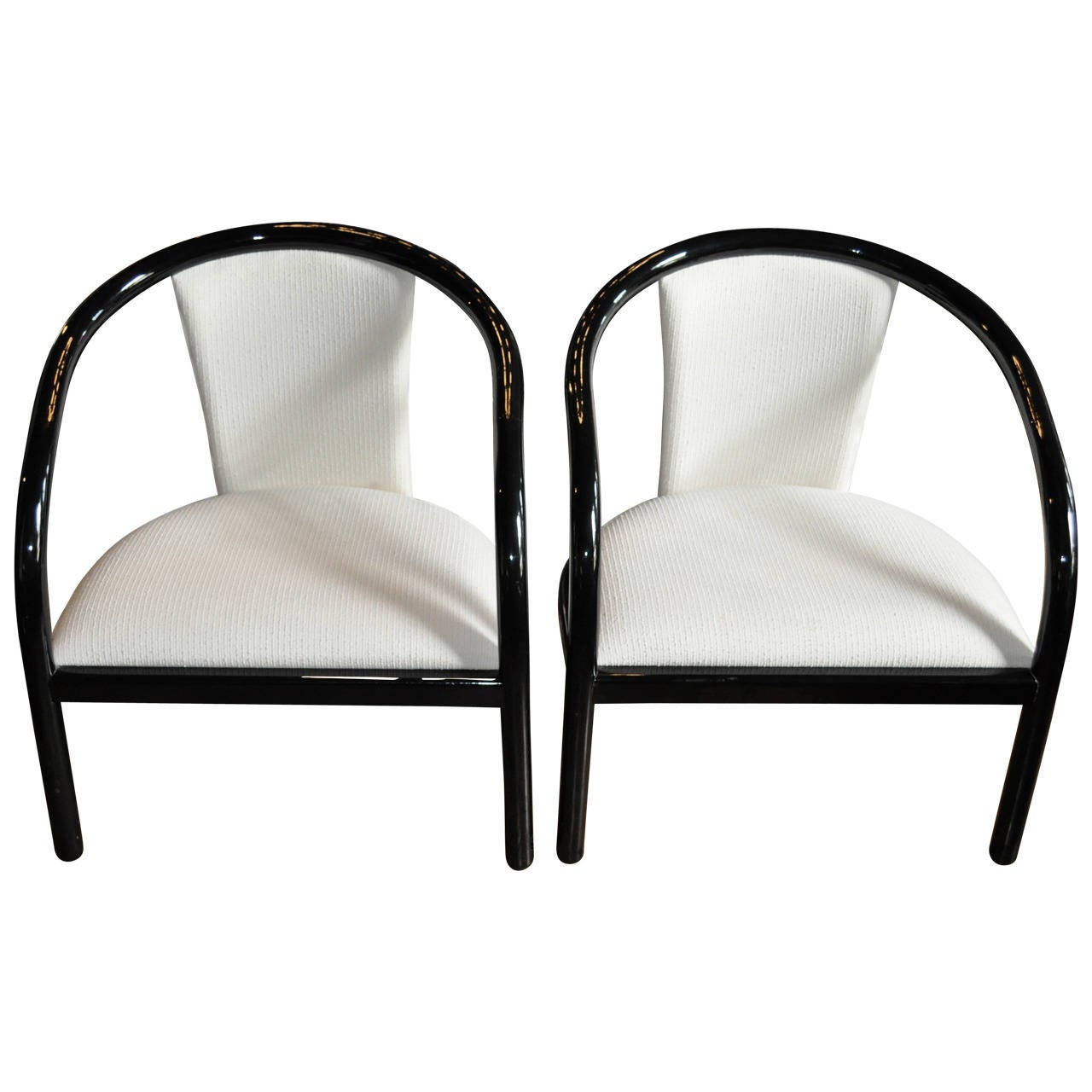 Pair of Italian Black Lacquer Tubular Chairs 1