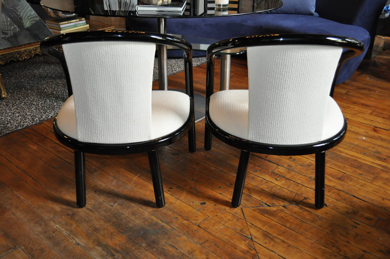Pair of Italian Black Lacquer Tubular Chairs 2