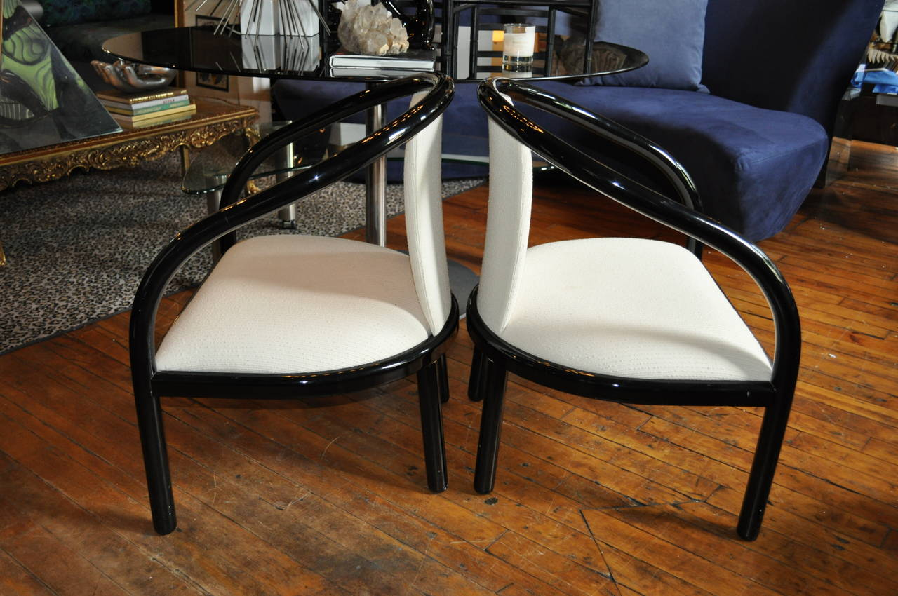 Pair of Italian Black Lacquer Tubular Chairs 3