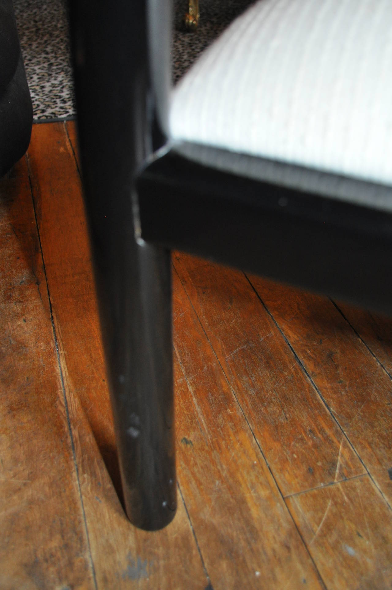 Pair of Italian Black Lacquer Tubular Chairs 4