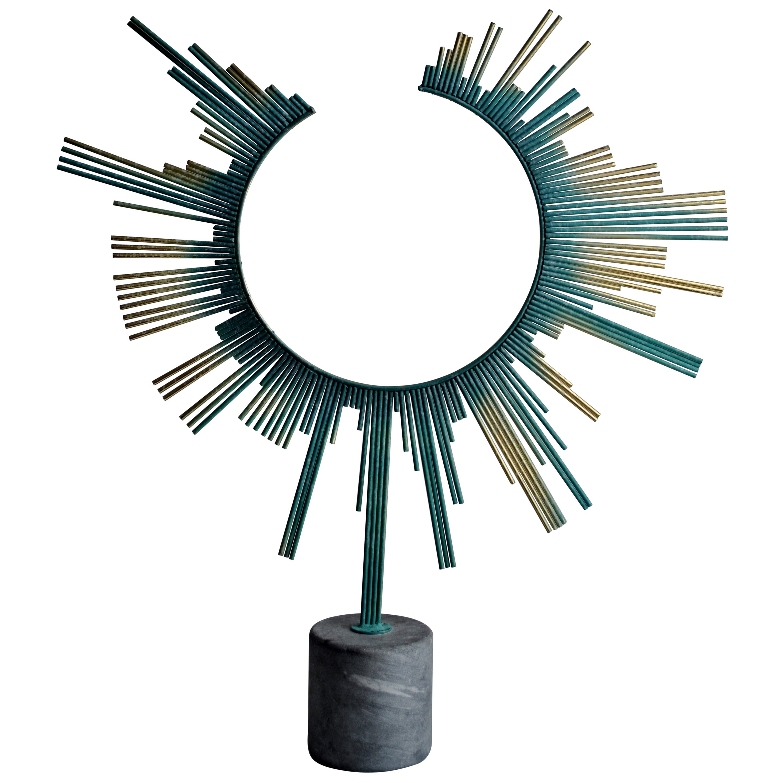 Rare Curtis Jere Sunburst Table Sculpture, Signed