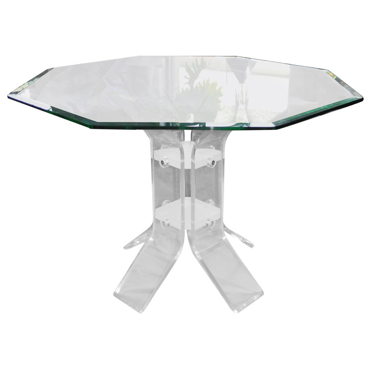 Sculptural Lucite Dining Table with Octagonal Glass Top at