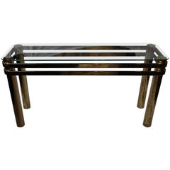 Mid Century Modern Hollywood Regency Brass and Glass Console Table