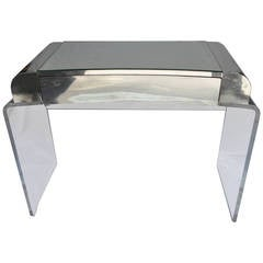 Hollywood Regency Waterfall Lucite Mirrored Vanity