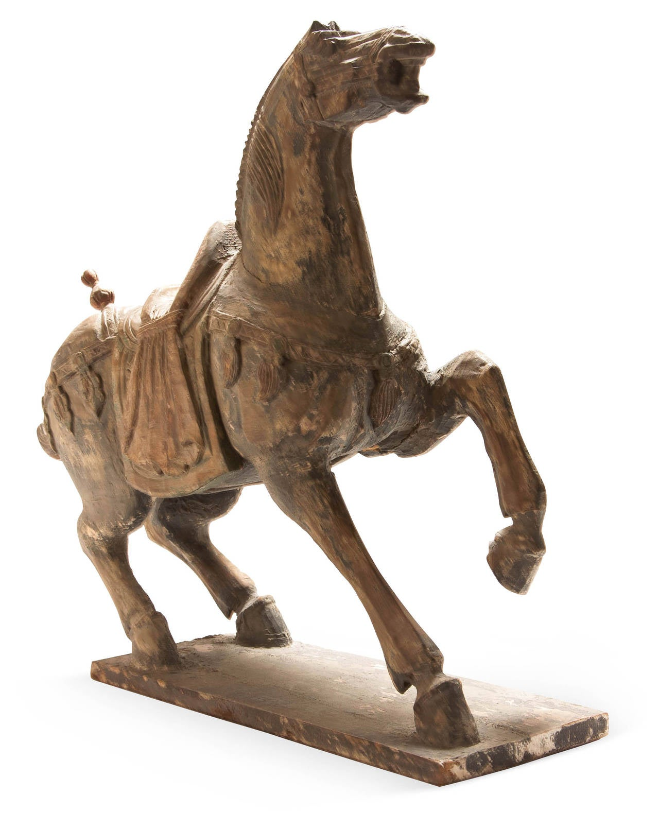 Large polychrome carved wood tang horse for sale at stdibs