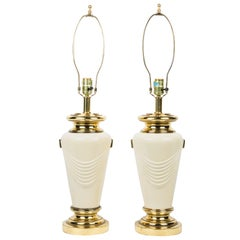 Neoclassical Style Brass Drape Table Lamps