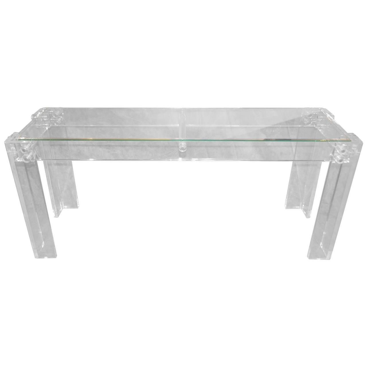 Large Mid Century Modern Lucite and Glass Console Table