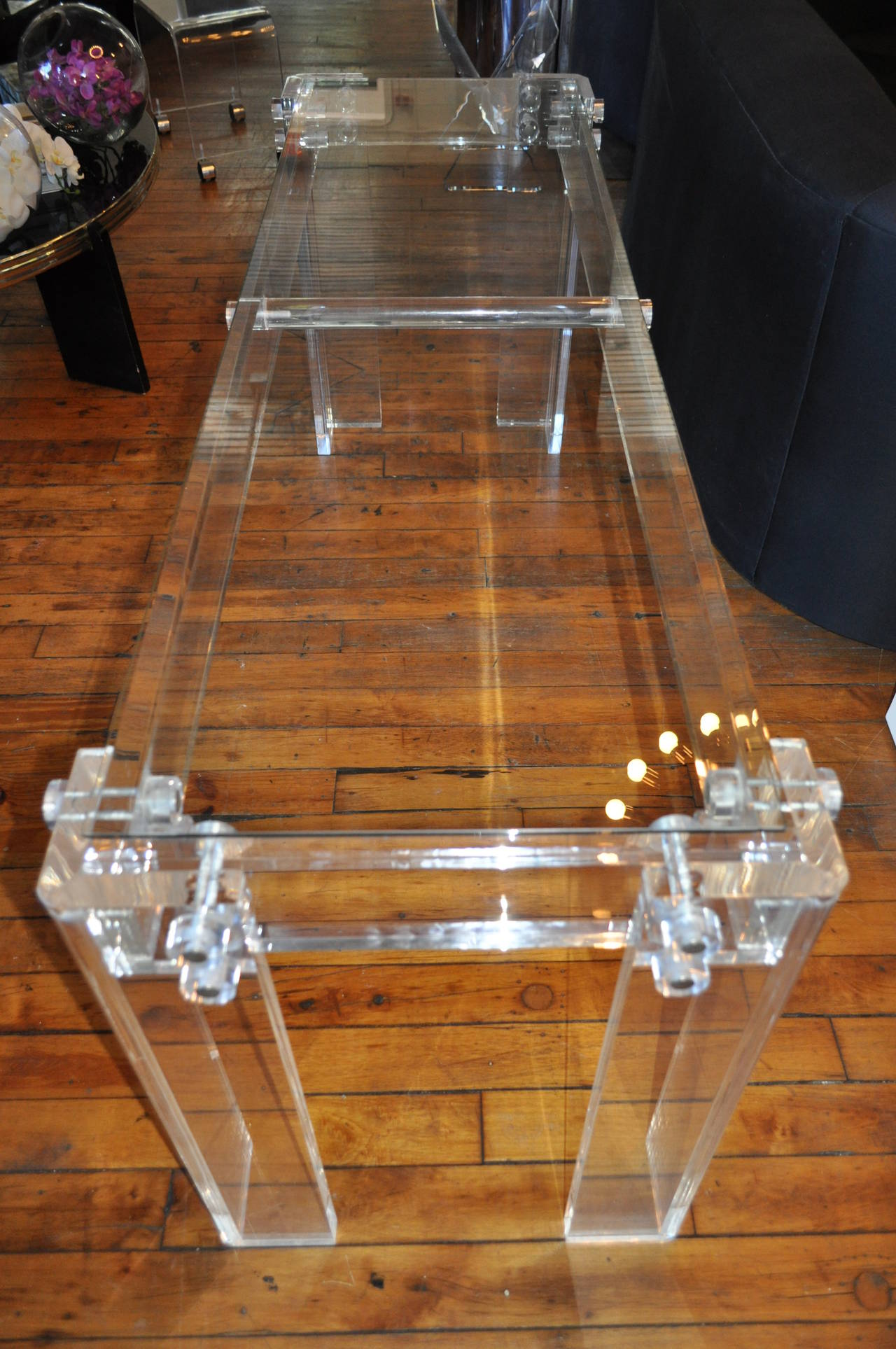 Hollywood Regency Charles Hollis Jones Style Mid Century Modern Lucite and Glass Console Table For Sale