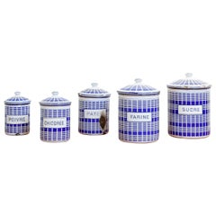 Set of French Enamel Canisters, circa 1920