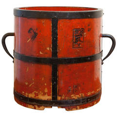 Antique Chinese Wood and Iron Bucket