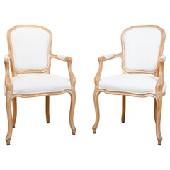 Pair of Louis XV Style Feuteuil Armchairs, 20th Century