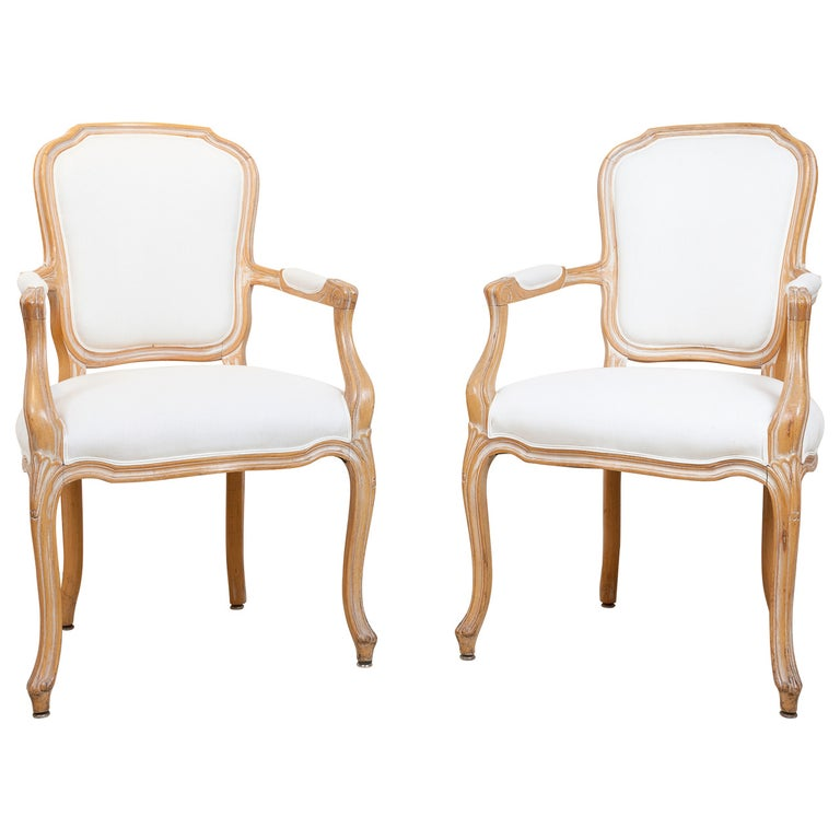 Pair of Louis XV Style Feuteuil Armchairs, 20th Century For Sale