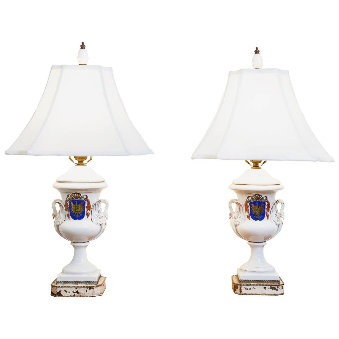 Pair of Old Paris Armorial Urn Lamps, 19th Century France