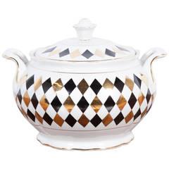 """Vintage """"Harlequin"""" Pattern Porcelain Tureen, France, A. Pullivuyt"""