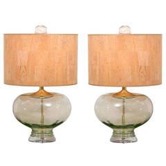 Spectacular Pair of Vintage Blown Glass Lamps with Original Finials