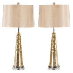 Exquisite Pair of Modern Etched Cone Lamps in Nickel and Brass