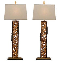 Spectacular Pair of Carved Asian Lamps