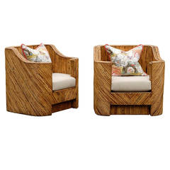 Jaw-Dropping Pair of Vintage Split Bamboo Club Chairs